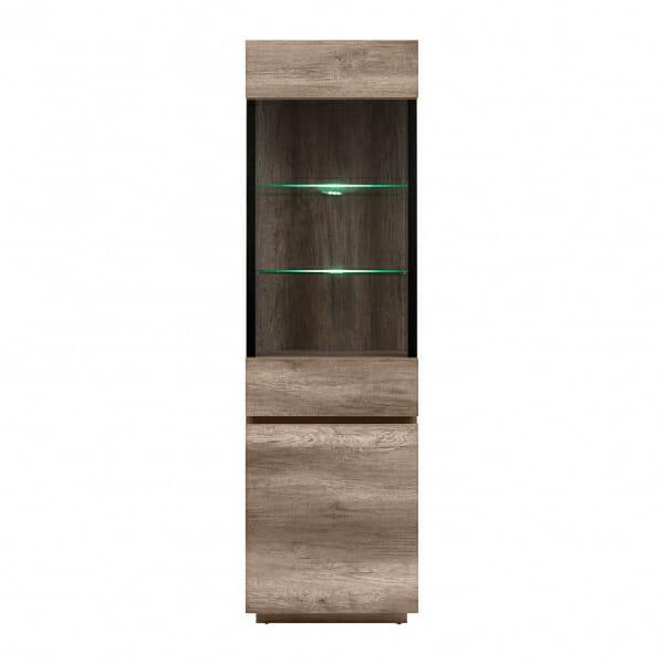 Висок шкаф витрина с LED осветление Антика - отпред