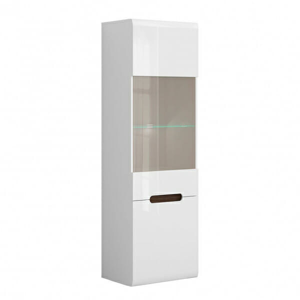 Висок шкаф витрина с осветление Ацтека - бяло с бял гланц