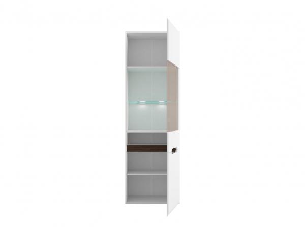 Висок шкаф витрина с осветление Ацтека - бяло с бял гланц - разпределение