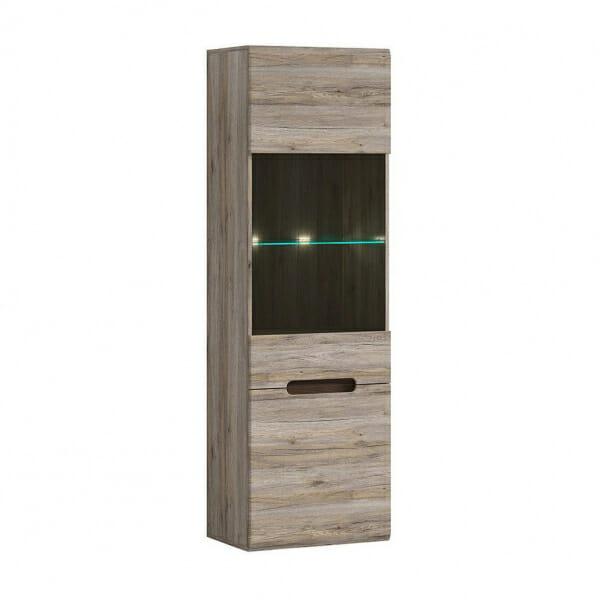 Висок шкаф витрина с осветление Ацтека - дъб сан ремо