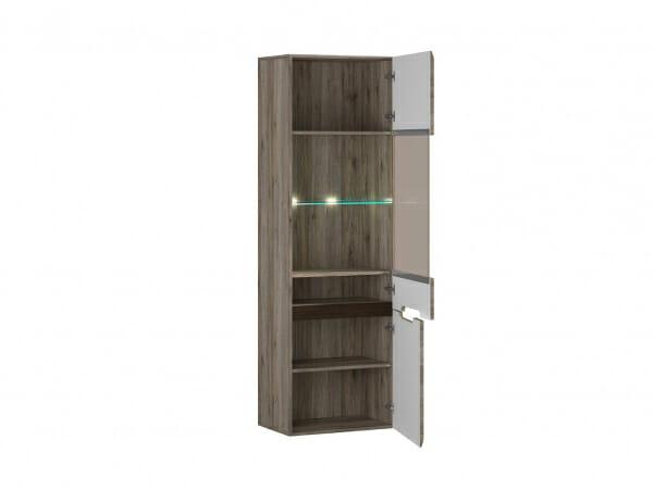 Висок шкаф витрина с осветление Ацтека - дъб сан ремо - разпределение