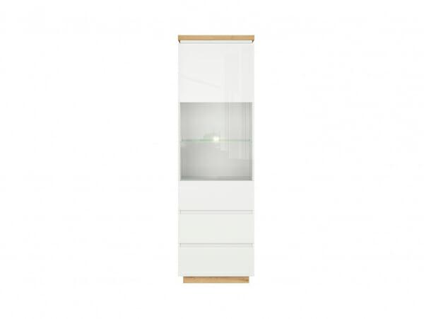 Висок шкаф витрина с осветление Ерла - отпред