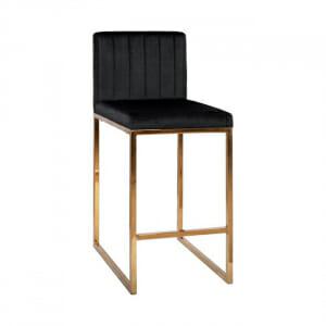 Бар стол с дамаска от кадифе и метална основа-черен цвят