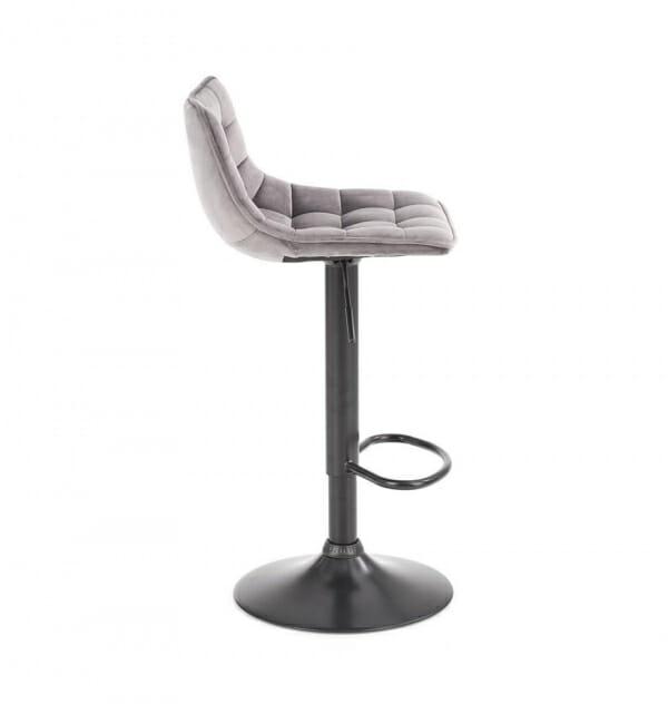 Бар стол с метална основа и текстилна дамаска (2 цвята) - странично