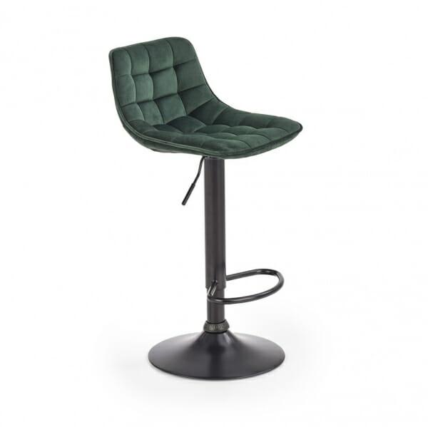 Бар стол с метална основа и текстилна дамаска (2 цвята) - тъмнозелен