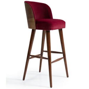 Бар стол с плюшена дамаска и овална облегалка