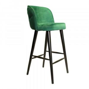 Бар стол с плюшена тапицерия и декоративен гръб-зелен