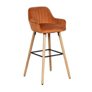 Бар стол с подлакътници и дървени крака от бук - оранжев цвят