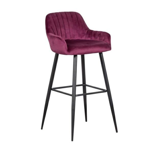 Бар стол с подлакътници и метални крака-лилав цвят