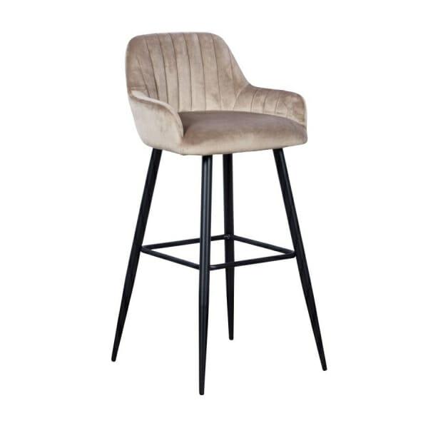 Бар стол с подлакътници и метални крака-пясъчен цвят