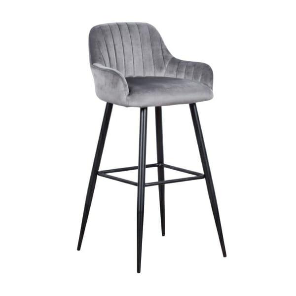 Бар стол с подлакътници и метални крака-сив цвят