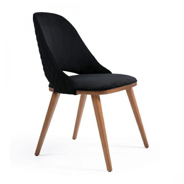 Дървен трапезен стол с текстилна тапицерия-черен