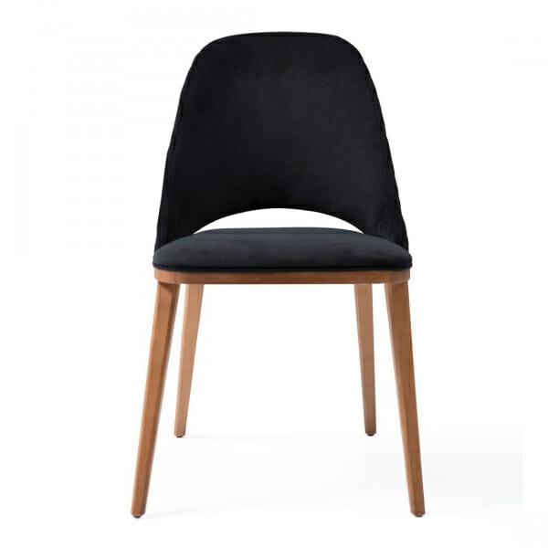 Дървен трапезен стол с текстилна тапицерия-черен, отпред