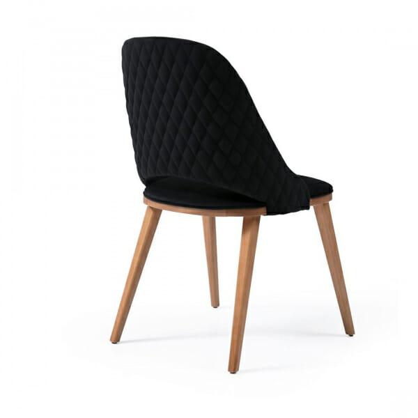 Дървен трапезен стол с текстилна тапицерия-черен, отзад