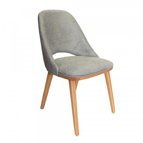Дървен трапезен стол с текстилна тапицерия-сив