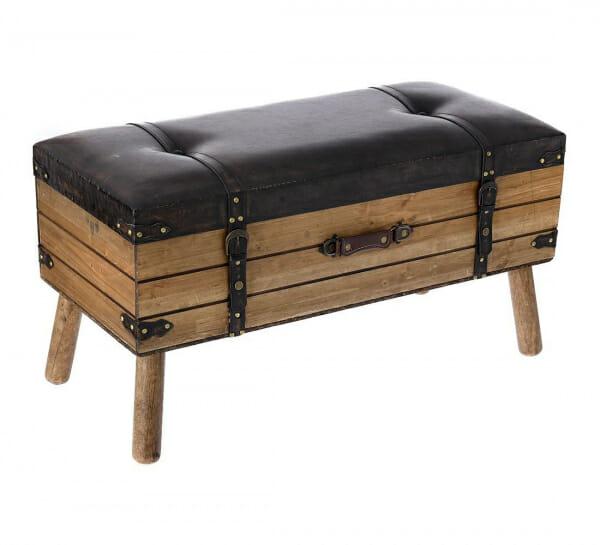 Дървена табуретка с място за съхранение имитираща куфар-Размер 2