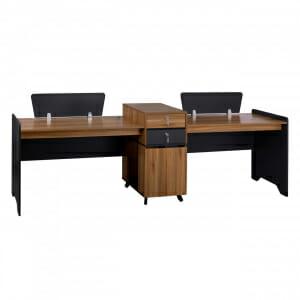 Двойно офис бюро в цвят меден дъб серия Супра