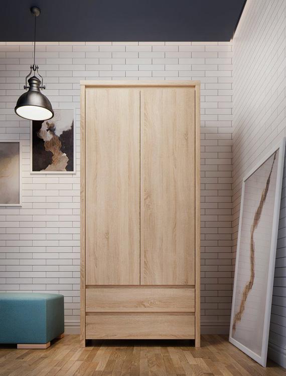 Двукрилен гардероб Каспиан Дъб - декор