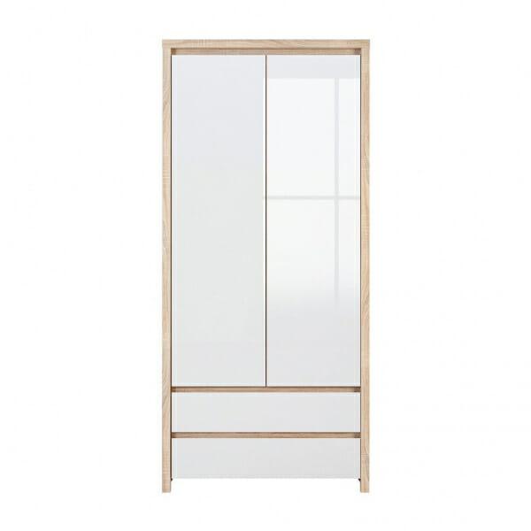 Двукрилен гардероб Каспиан Дъб сонома с бял гланц - отпред