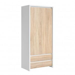 Двукрилен гардероб Каспиан Дъб сонома с бял корпус