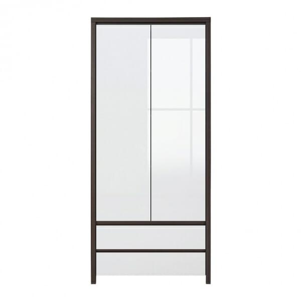 Двукрилен гардероб Каспиан Венге с бял гланц