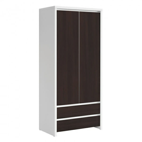Двукрилен гардероб Каспиан Венге с бял корпус