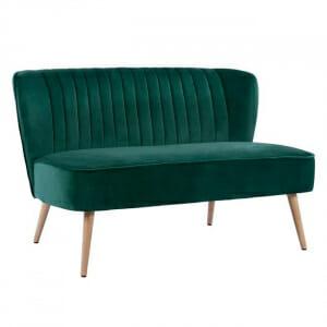 Двуместен диван с тапицерия от кадифе-зелен