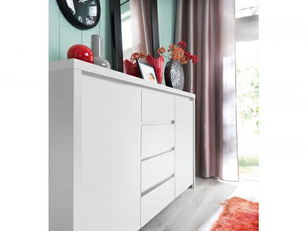 Функционален широк шкаф Каспиан Бял декор