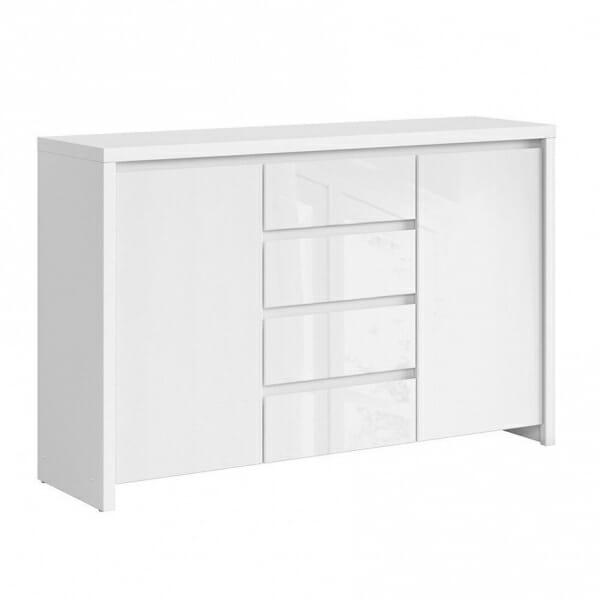 Функционален широк шкаф Каспиан Бял гланц