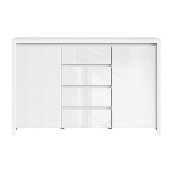 Функционален широк шкаф Каспиан Бял гланц отпред