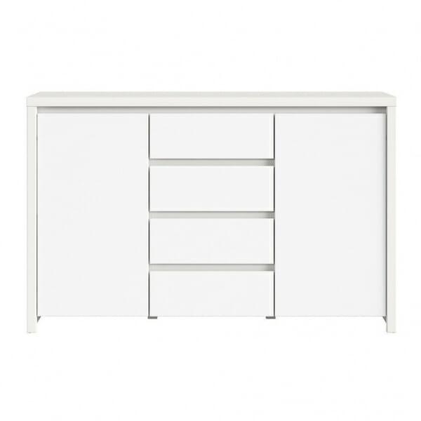 Функционален широк шкаф Каспиан Бял отпред