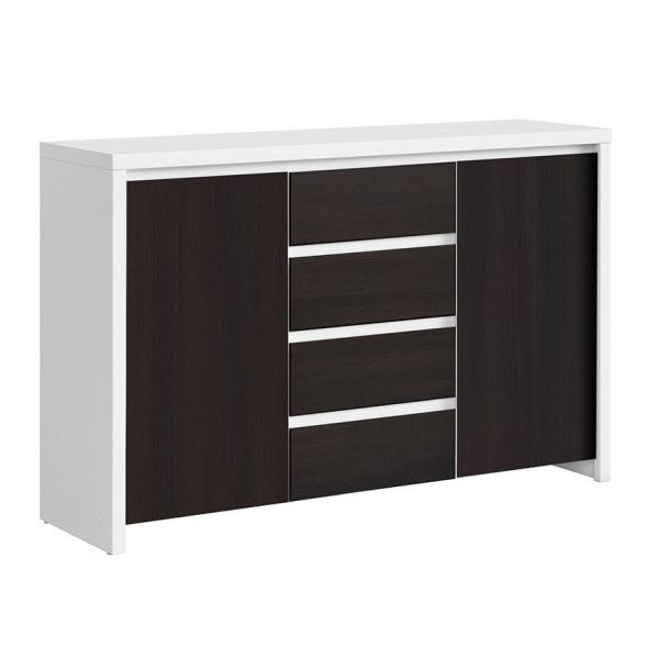 Функционален широк шкаф Каспиан Венге с бял корпус