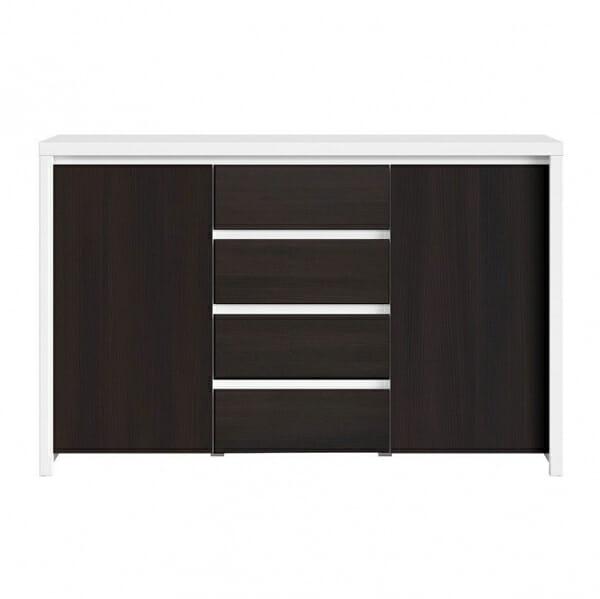 Функционален широк шкаф Каспиан Венге с бял корпус - отпред