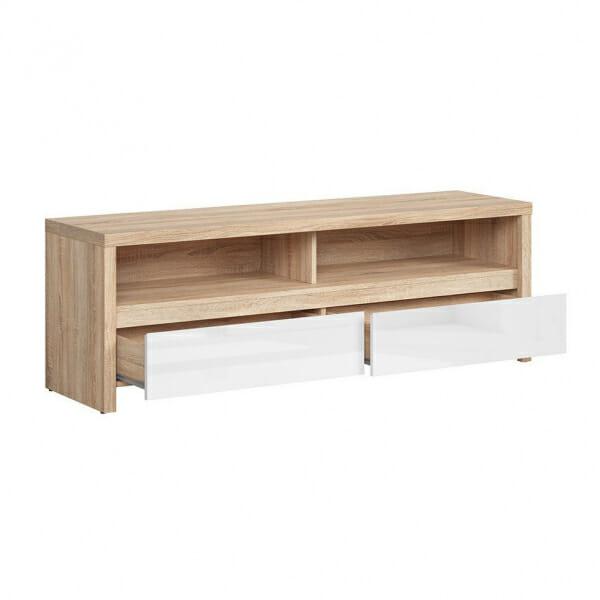 Функционален ТВ шкаф Каспиан Дъб сонома с бял гланц - разпределение