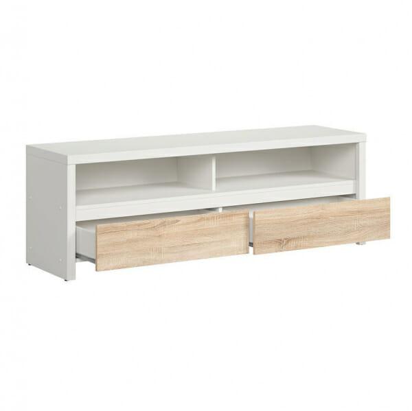 Функционален ТВ шкаф Каспиан Дъб сонома с бял корпус - разпределение