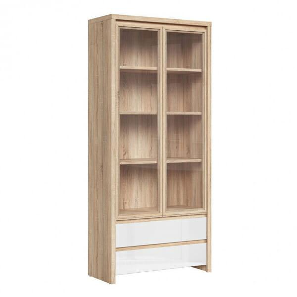 Голям шкаф витрина Каспиан Дъб сонома с бял гланц