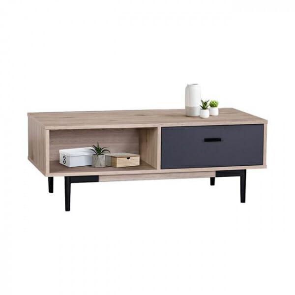 Холна маса със сиви детайли и метална основа серия Гросо