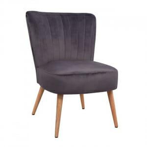 Кадифен трапезен стол с дървени крачета-сив