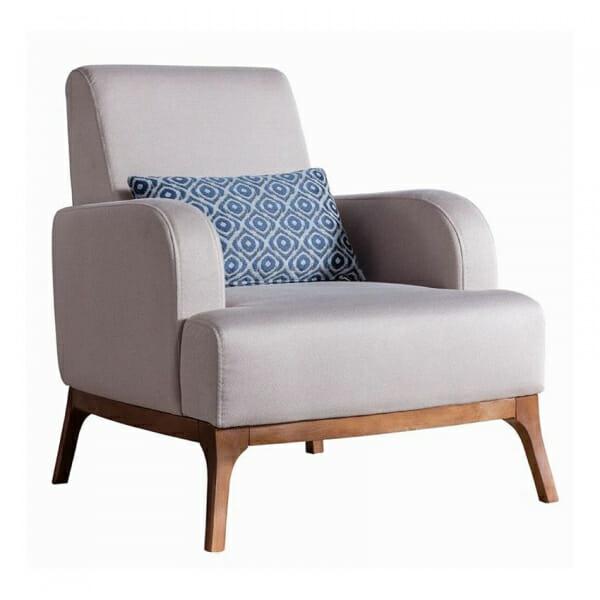 Кресло с крака от бук и текстилна дамаска Madi-бежов цвят