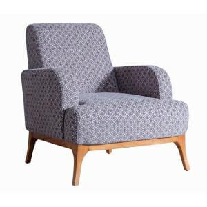 Кресло с крака от бук и текстилна дамаска Madi-син цвят