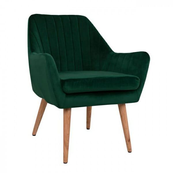 Кресло с тапицерия от кадифе и дървени крачета-зелен