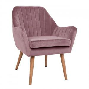 Кресло с тапицерия от кадифе и дървени крачета-розов