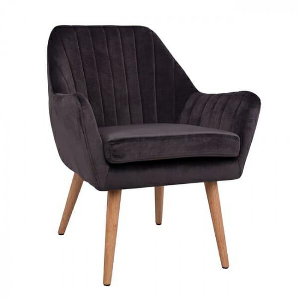 Кресло с тапицерия от кадифе и дървени крачета-сив