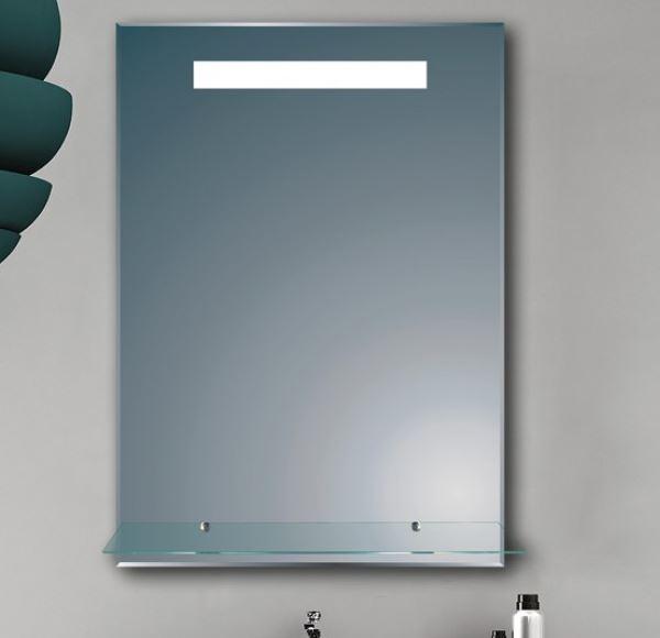 LED огледало за баня със стъклена лавица