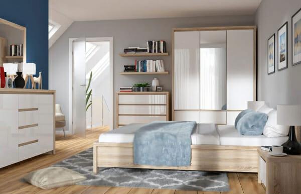 Модулна система Каспиан Дъб сонома и бял гланц за спалня