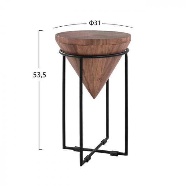 Помощна масичка с дървен плот във форма на обърнат конус-размери