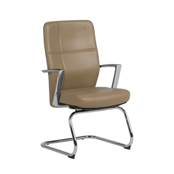 Посетителски офис стол от естествена кожа (2 цвята) - бежов