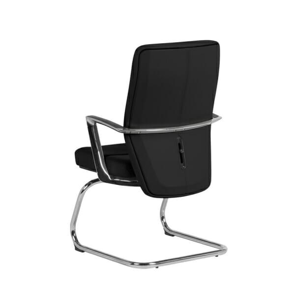 Посетителски офис стол от естествена кожа (2 цвята) - отзад