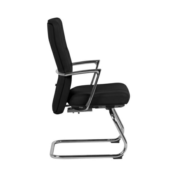 Посетителски офис стол от естествена кожа (2 цвята) - странично