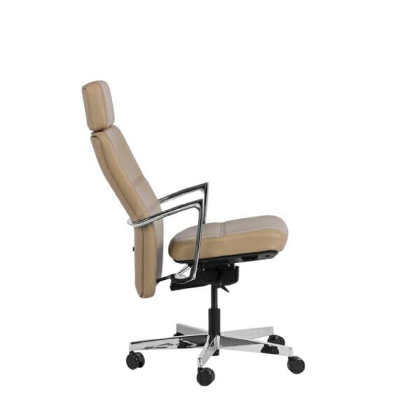 Президентски офис стол от естествена кожа - фиксирана